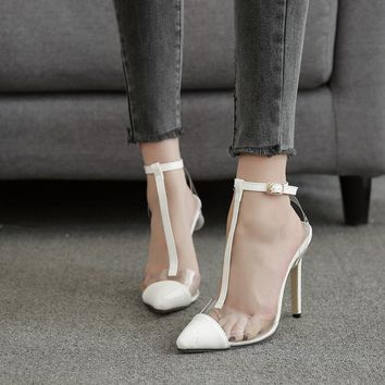 Transparent Patchwork Pointed Toe Ankle Wrap Stiletto High Heels