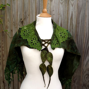Elven Woodland Felted cape - Fairytale cape - elven cape - Fairy cape - shawl - Elven Cape