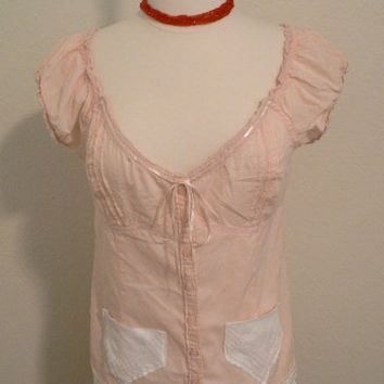 Sweet peach - Upcycled cotton shirt with lace - boho chic style