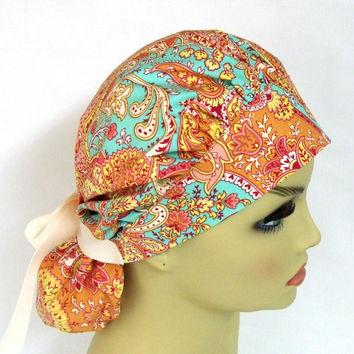Womens Bouffant Surgical Scrub Hat or Cap Paisley in Clay