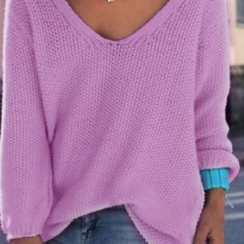 Women's Solid Color V neck Loose Sweater 6 Colors Best Gifts