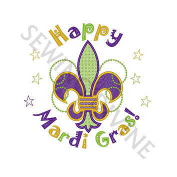 HAPPY MARDI GRAS Embroidery Design Cross Stitch Fleur de lis 4x4 5x7 6x10 Instant Download