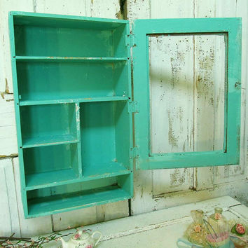 Sea foam green display cabinet wall hanging cottage chic wooden wall shelf distressed with hints of aqua home decor anita spero design