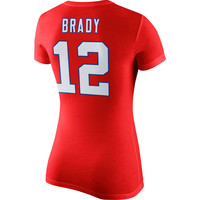 Women's New England Patriots Tom Brady Nike Red Player Pride Name & Number T-Shirt