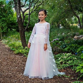 Pink Farfalla Butterfly Tulle Gown Dress