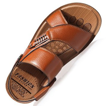 Mens Leisure Fashion Breathable Leather Beach Sandals