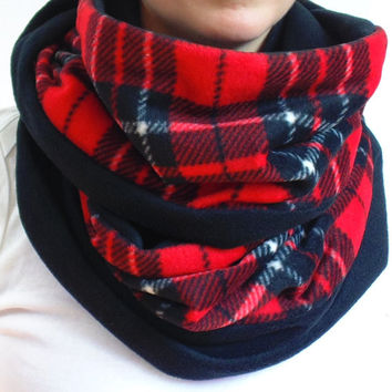 Red Plaid Infinity Scarf, Tartan Scarf, Red Black & White Tartan, Big Scarf, Chunky Scarf, Back to School,Oversized Scarf, Fleece Scarf,Gift