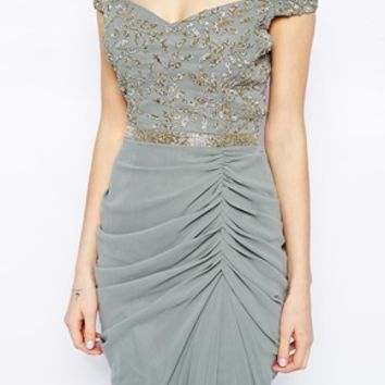 Virgos Lounge Juliana Embellished Midi Dress with Wrap Skirt - Gray