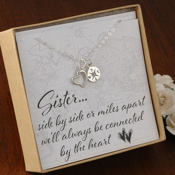 Sisters Necklace - Near or Far - Open heart charm and Compass Charm