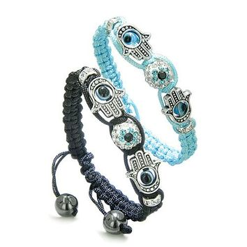 Magic Evil Eye Protection Love Couple or Best Friends Hamsa Hands Amulet Set Black Blue Bracelets
