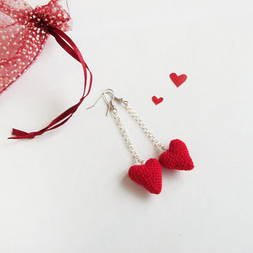 Red tiny crochet  heart earrings  Valentine's Day gift / long Crochet jewelry /Original earrings for  women