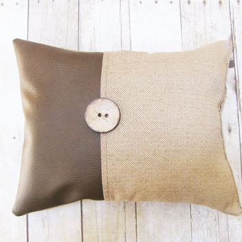 Decorative Pillow - Lumbar Pillow - Vegan Brown Leather and Soft Woven Blend Fabric - Large Button