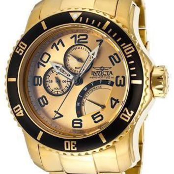 Invicta Pro Diver Multi-Function Champagne Dial 18kt Gold-plated Mens Watch