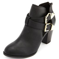 Cutout Double Buckle Ankle Bootie: Charlotte Russe