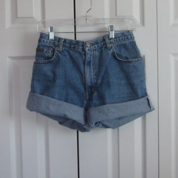 Upcycled Calvin Klein Shorts, Cut Off Denim Shorts, Jean Shorts, Hipster Grunge Clothing, Boyfriend Shorts, Womens 12,  Calvin Klein Cutoffs