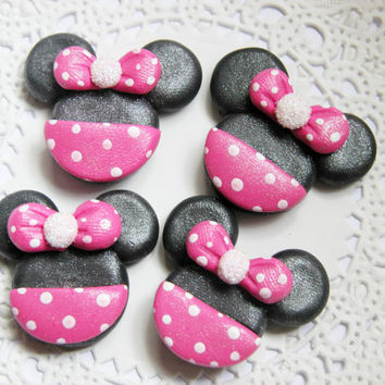 Minnie Mouse Clay Bow Centers, Scrapbook Brads, Magnets, Charms, Buttons, Flat Back, Cabochon, Chunky Pendant, Necklace Pendant - 4pcs