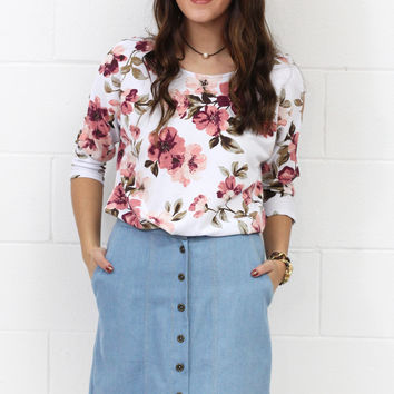 Button That Lip Denim Skirt {Lt. Blue}