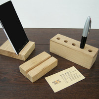 Wood Desk Organizer. 3 in 1 Wooden Desktop set. Wood Business Card Holder, Wooden iPhone stand, Wood Pen Holder.