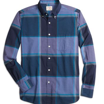 Men's Red Fleece Purple Madras Sport Shirt | Brooks Brothers