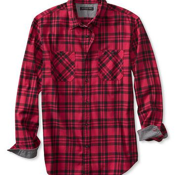 Banana Republic Mens Slim Fit Red Check Flannel Shirt