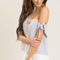 Evelyn Lavender Off the Shoulder Bow Top