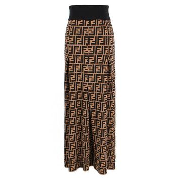 FENDI Autumn Winter Fashion Women Temperamental Double F Letter Jacquard Knit High Waist Skirt