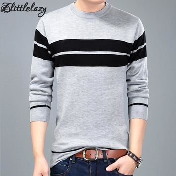 2017 brand social cotton thin men's pullover sweaters casual crocheted striped knitted sweater men masculino jersey clothes 3176