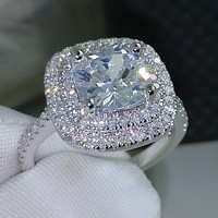 choucong Cushion cut 8mm AAAAA zircon cz 925 Sterling silver Women Wedding Ring Engagement Band Sz 5-11 Gift