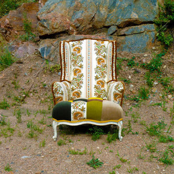 Boho Vintage Wingback Chair by Vintage Renewal by vintagerenewal