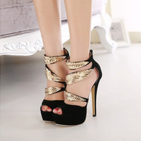 new women Metal leaf vintage Rome personality wedding high heels woman sexy Open toe T-straped evening sandal high heeled shoes Girl Valentine's novelty party bridal nude platform pumps sandalias shoes