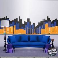 Superhero Wall Decal - Gotham City Wall Decal - City Skyline Sticker - Printed City Wall Decal - Batman Wall Decal - DI-wd18