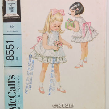 Vintage McCall's 8551 Sewing Pattern (c. 1966) Child's Dress, Designed by Helen Lee, Size 5, Pinafore, Ruffled Dress, Vintage Girl's Dress