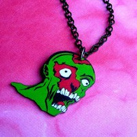 Zombie Pop Art Necklace by theringleader on Etsy