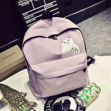 Stylish College On Sale Comfort Hot Deal Back To School Korean Lovely Cats Casual Canvas Backpack [6582270343]