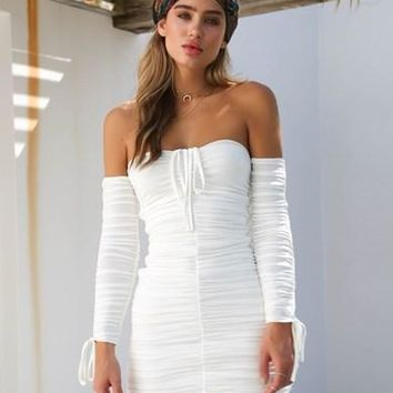 Women Simple Fashion Long Sleeve Off Shoulder Solid Color Bodycon Strapless Mini Dress
