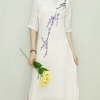 Streetstyle  Casual Band Collar Side Slit Floral Printed Maxi Dress