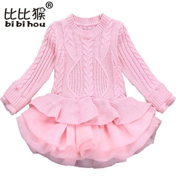 Bibihou Girl Winter Dress 2017 Fashion Spring Autumn Princess Girl Long Sleeve Sweater TuTu Dress Kid Christmas Dresses For Girl