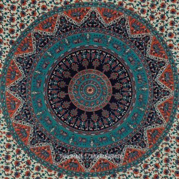 Gray Multicolor Bohemian Indian Mandala Cloth Fabric Tapestry Bedspread - RoyalFurnish.com