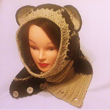 Brown cowl hood, knit hoodie scarf, hood with ears, hooded bear, women cowl, Neck Warmer, Women crochet scarf, teen to adult size