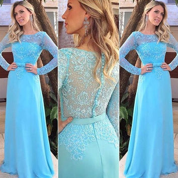 Long Sleeve Blue Lace A-Line  Prom Dresses