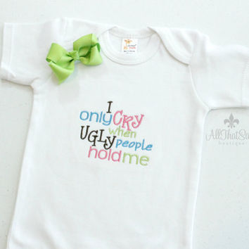 Funny Embroidered Bodysuit and Bow Set - Ugly People - Creeper - Baby Girl - Baby Shower Gifts - Baby Clothes - Clever Baby Gift