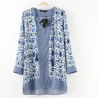 Round Neck Long Sleeve Print Knit Shirt Blouses