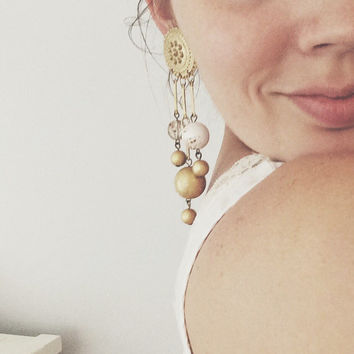 Large Clip Earrings - Long Shoulder Duster, Gold, White, Clear Lucite Beads, Vintage Costume Jewelry Earrings