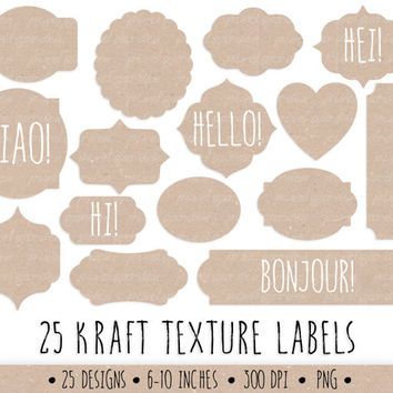SALE-20% OFF. Kraft Digital Frames Clip Art Set. Kraft Paper Tags, Labels and Borders. Birthday Cards, Invitations, Scrapbooking Design Set.