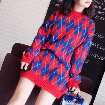 DCCKH3L Gucci' Women Fashion Geometric Rhombus Multicolor Long Sleeve Middle Long Section Knit Sweater Dress