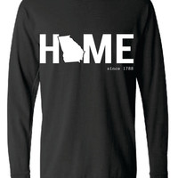 Georiga HOME Comfort Color Short LONG SLEEVE T-shirt.  Show Your state pride and state love
