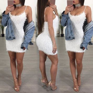 Mini fluffy bodycon dress
