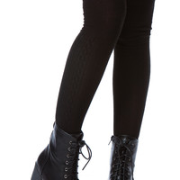 Black Textured Thigh High Socks