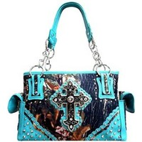 Cowgirl Western Rhinestone Cross Canvas Camo Satchel Purse Camouflage (blue)