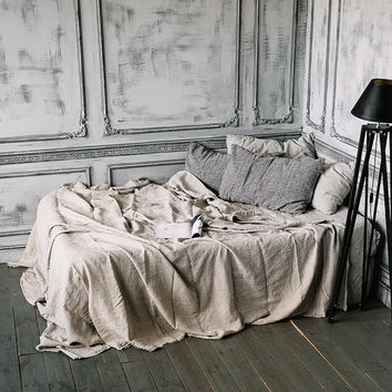 Natural Beige WASHED LINEN Sheet Set includes 4 pcs: Flat Sheet, Fitted Sheet, Pair of Pillowcases,  New model by Len.Ok